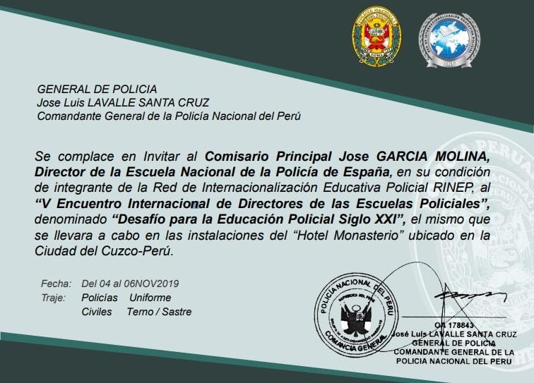 Flyer V Encuentro de Directores de Educación Policial – RINEP-2019